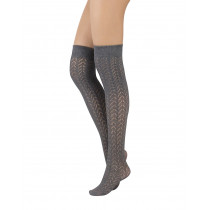 COTTON OVER THE KNEE SOCKS CHEVRON PATTERN - 300 DEN