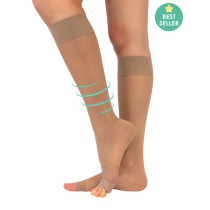 OPEN TOE KNEE HIGH SOCKS WITH STRONG COMPRESSION - 140 DEN